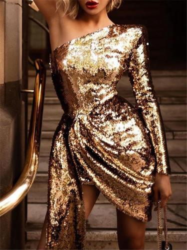 Charm Gold Sequins One-Shoulder Asymmetrical Dress