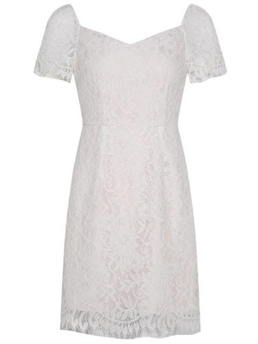 White 1950S Charm Embroidered Lace Pencil Dress