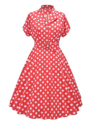Red 1950S Polka Dot Belted Short Sleeve Swing Dress