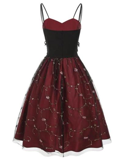 Wine Red 1950S Lace Up HighWaist Embroidery Spaghetti Strap Dress
