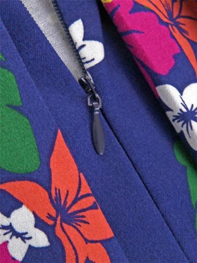 Navy Blue 1950S Pretty Floral Strap Swing Dress