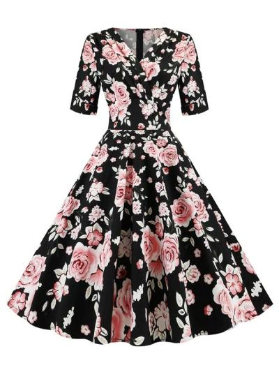 Black 1950S V Neck Rose Floral Fold Swing Dress