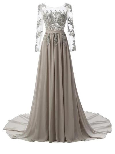 Vintage Elegant Rhinestone Lace Patchwork Chiffon Maxi Dress