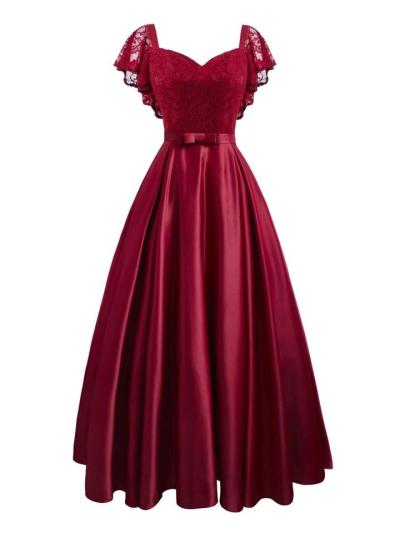 Wine Red 1950S Lace Cap Sleeve Sweetheart Neck Satin Dress