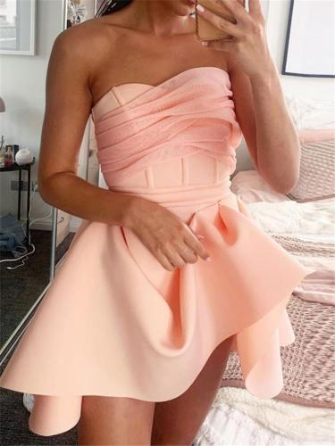 Pink Sexy Strapless Bodice Backless Irregular Princess Dress