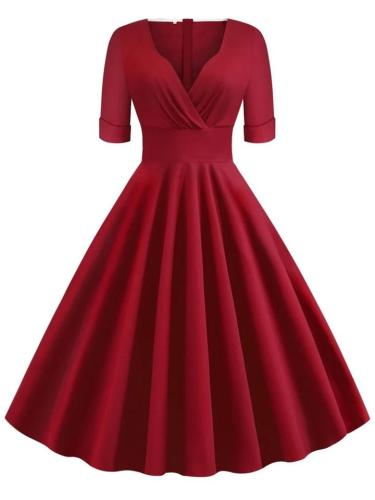 Solid Color1950S Half Sleeve Sweetheart Fold Swing Dress