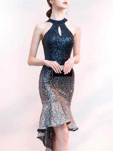 Shimmering Sequin Mermaid Hem Sheath Dress For CocktailParty