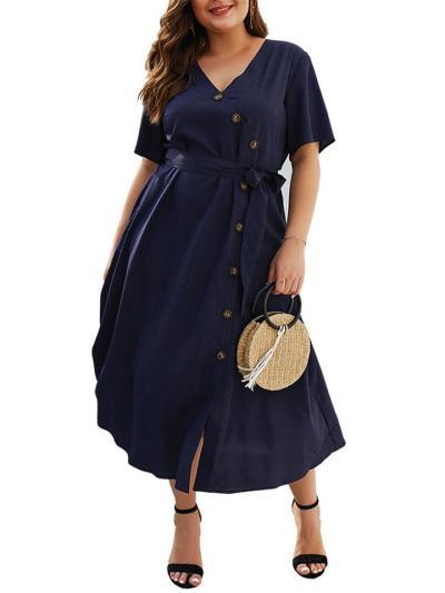 Plus Size Navy Blue 1950S ButtonV Neck Swing Dress