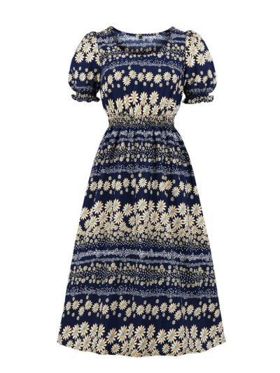 Dark Blue 1950S Cute Puff Sleeve Daisy Floral Printing Dress