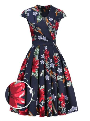 Navy Blue 1950S Lovely Floral Cap Sleeve Fold Dress