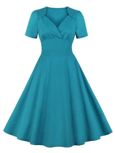 1950S Solid Color Short Sleeve Folds Swing Dress