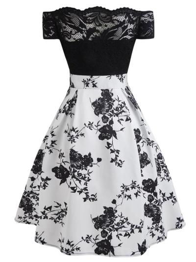 1950S Floral Off Shoulder Lace Swing Midi Dress