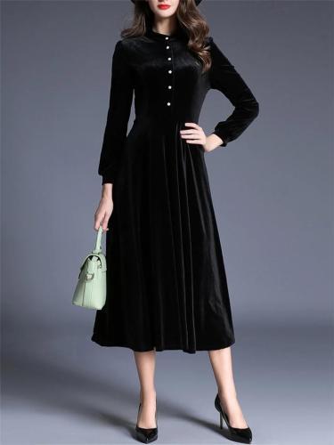 Elegant 1950S Soft Velvet StandCollar LongSleeve Dress