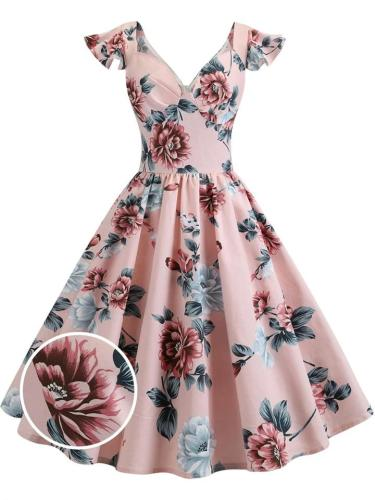 Pretty 1950S Floral Flare Sleeve Swing Dress