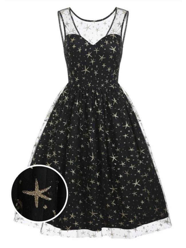Black 1950S Dreamy Starry Sky Mesh Swing Dress