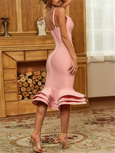 Charm Sexy Pink Deep V Neck Spaghetti Strap Trumpet Bodycon Dress
