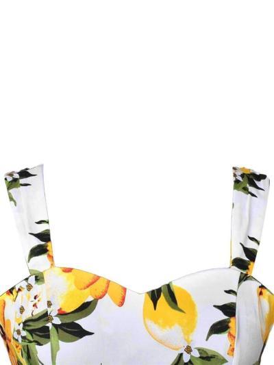 Yellow 1950S  Floral Lemon Vacation Strap Dress