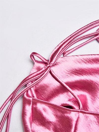 Sexy Spaghetti Straps Ruched Satin Asymmetrical Dress
