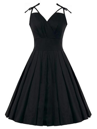 Minimalist 1950S Bow Strap Swing Folds Dress