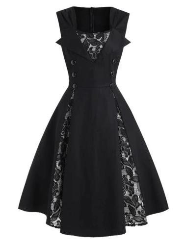 Black 1950S Unique Lace Patchwork Decor Dramatize Dress