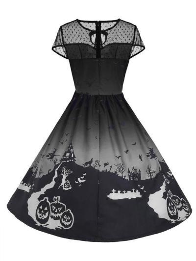 1950S CapSleeve Halloween Print Mesh Patchwork Midi Dress