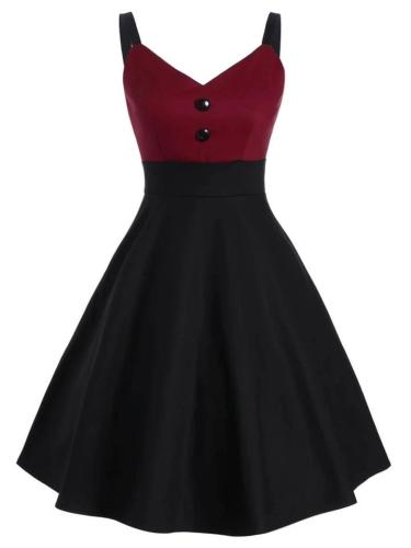 1950S Patchwork Button Halter Swing Dress