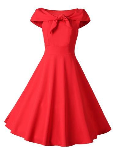 Red 1950S Elegant Bow Tie Swing Dress
