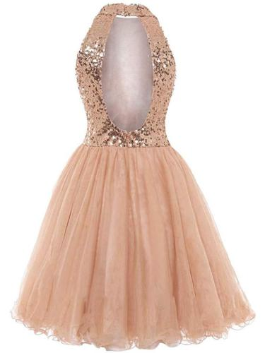 Pretty Rose Gold Sequin A-Line Halter Cocktail Dresses For Party