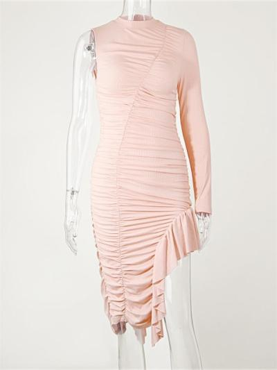 Peach Pink One-shoulder Ruched Asymmetrical Dress