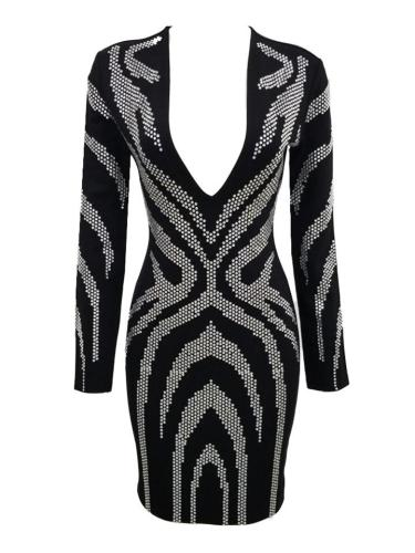 Black Rhinestone Sexy Deep V Long Sleeve Bodycon Dress For Cocktail Party