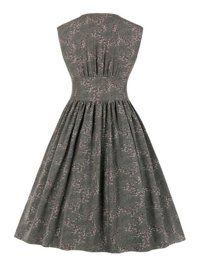 1950S Vintage Floral Sleeveless Button A-Line Dress