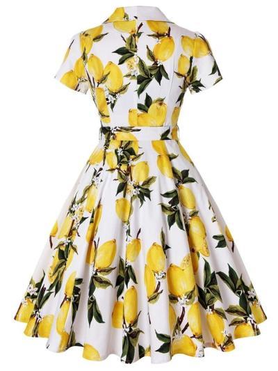 Yellow 1950S Lemon Bow Belted Swing Dress
