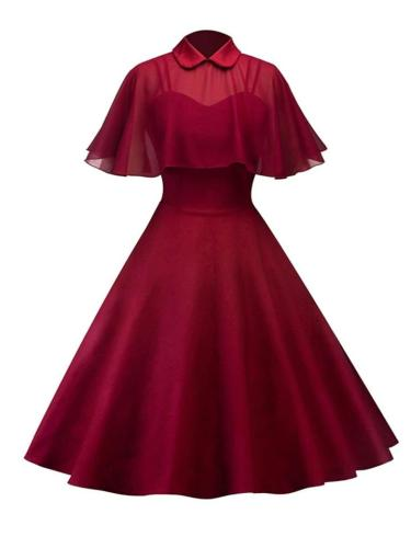 1950S Princess Seamed Bodice Patchwork Cape Swing Dress