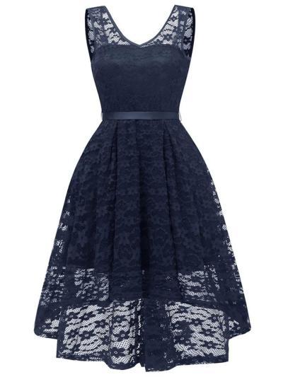 Solid Color 1950S Floral Lace V Back High-Low Swing Dress