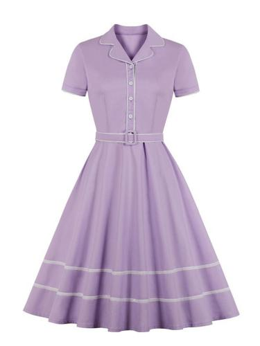 1950S Turndown Collar Short Sleeve Belted A-Line Dress