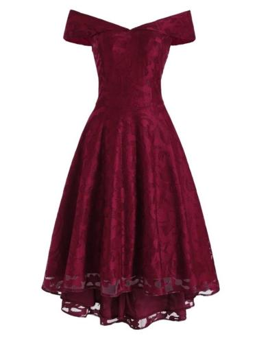 1950S Retro Charm Wine Red Lace Off Shoulder High-Low Dress