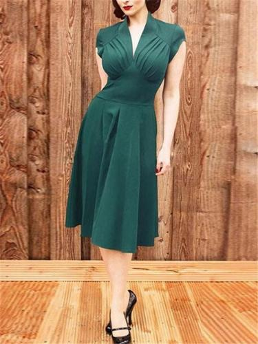 Beautiful Green Color 1950s Ruched Wrap Midi Dress
