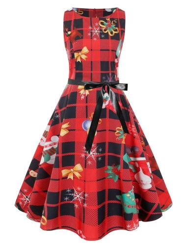 Classic Retro 1950S Plaid Christmas Printing Sleeveless Dress