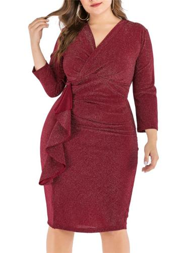 Plus Size Sexy Ruffles V Neck Long Sleeve Sheath Dress
