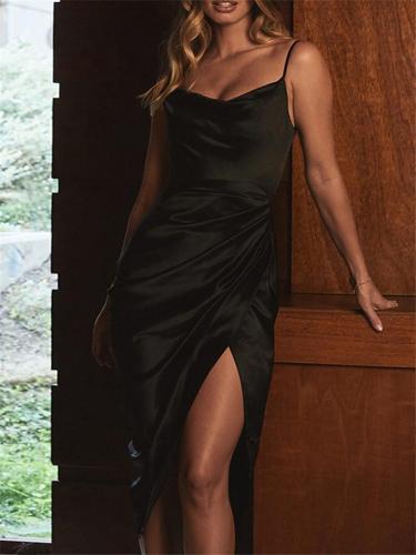 Sexy Satin Slit Ruched Corset Slip Dress