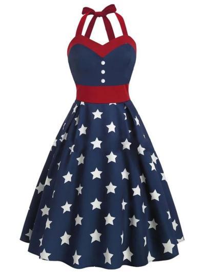 Navy Blue 1950S Stars Patchwork Halter Swing Dress