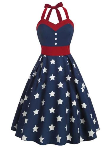 Navy Blue 1950S Stars Patchwork Halter Swing Dress