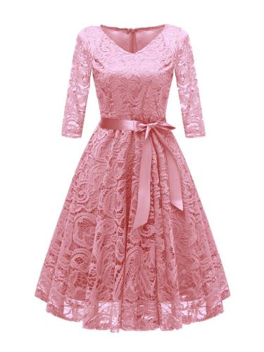 3/4 Sleeve 1950S Lace Floral Bow Midi Dress