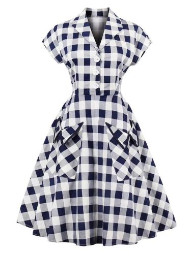 Classic Navy White 1950S Pockets Plaid Dress