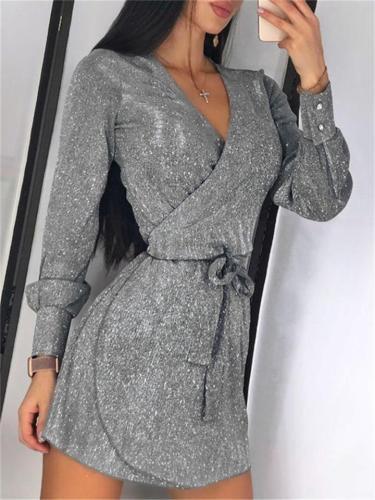 Sparkly Sequin Sexy V NeckLong Sleeve Waist Tie Mid Dress