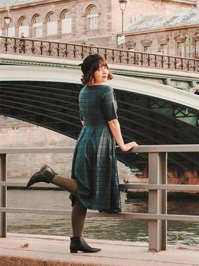 Dark Green 1950S Classic Plaid Square Neck Pleated Dress