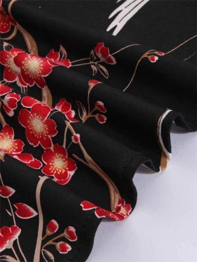 1950S Floral Print Patchwork Half Sleeve Swing Dress