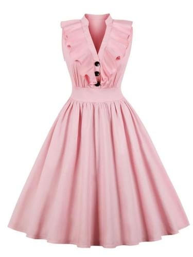 1950S Elegant Ruffle Trim Circle Dress