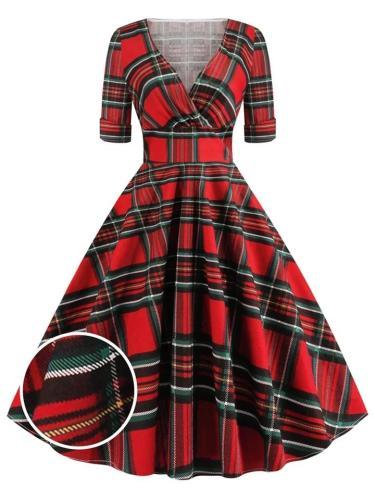1950S Plaid Half SleeveSweetheartFold Swing Dress