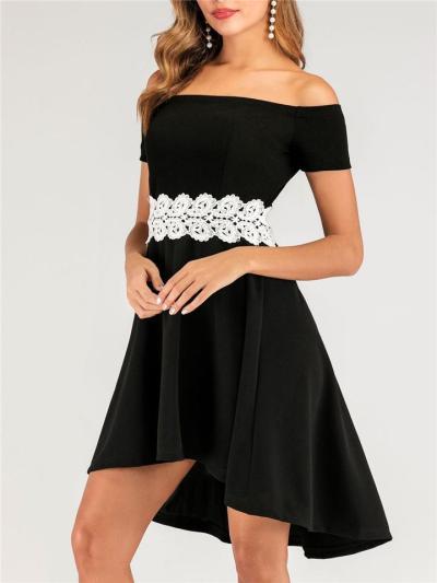 Black Off Shoulder Elegant Floral Waist High-Low Dress